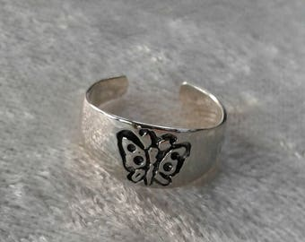 Toe Ring, Butterfly Toe Ring, Solid Sterling Silver Toe Ring, Body Jewelry