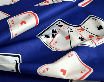 Poker Playing Cards Fabric, cotton fabric by the yard, sewing fabric, Sateen navy blue white Gambling fabric, Texas Hold 'em