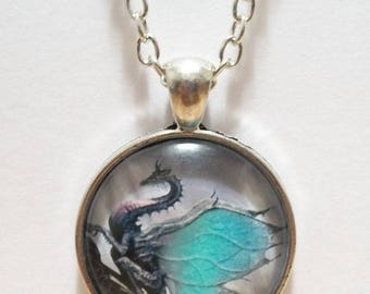 Blue Winged Dragon Glass Cabochon Pendant Necklace SC517