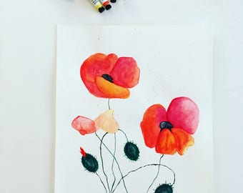 Original Watercolor Painting on Paper, Red Poppy Flowers Wall Art, Watercolor Poppies Painting, Poppies Watercolor, Poppy Gifts, Poppy Decor