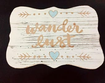 Hand-painted Wanderlust Plaque in Copper and Blue-shimmer Paint