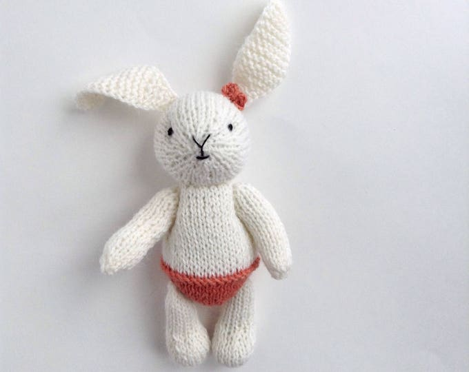 PREORDER Hand Knitted Soft Toy Bunny Rabbit 6 inches. Newborn photoprops