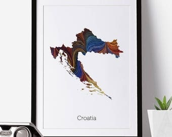 Croatia Print, Croatia Map, Croatia, Office Decor, City Map Prints, Map Art
