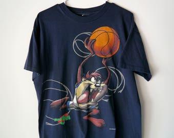 Vintage 90s Warner Bros Space Jam Taz Navy Blue T-Shirt // Men's Large