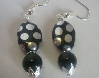 Black w/silver polka dot earrings