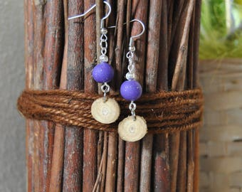 Wooden earrings, wood earrings wooden earrings handcrafted earrings, lilac, purple earrings Wheatear craft