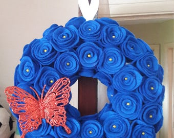 Blue felt rose wreath