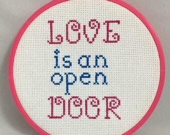 Love is an Open Door Disney Frozen Cross stitch