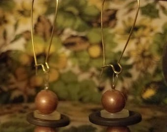 Vintage Gold, green button earrings