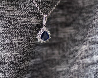 Pear Shaped Sapphire & Diamond Necklace