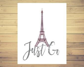 Paris Eiffel Tower Travel Poster, World Landmarks, Travel Art, World Travel, 8x10 Print, Adventure Print, Wanderlust Art, Watercolor Art