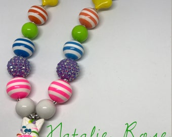 Rainbow zebra bubblegum necklace