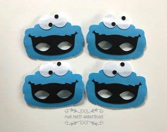 SET OF 4 Cookie Monster Party Masks, Cookie Monster Party Favors, Cookie Monster Party, Cookie Monster Birthday,Sesame Street Birthday