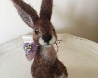 Hare Needle Felted Soft Sculpture; Collectible Brown Hare; Birthday, Easter or Baby Shower gift; Nursery Decor; Animal Lover
