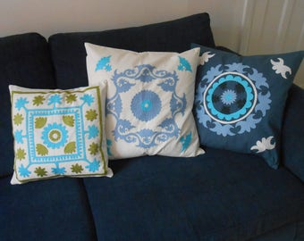 Hand embroidered cushion covers from Tajikistan