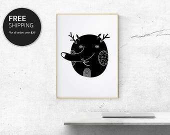 Art Print Black Cute Dude Modern Contemporary Interior Design Wall Decor by Blacklinebar