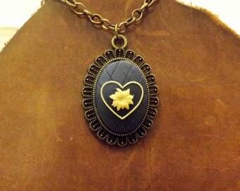 Blue Victorian Flower Pendant Necklace