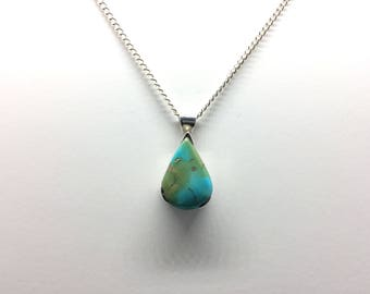 Pear Shaped Turquoise Stone Pendant and Chain