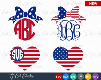 American flag monogram frames, 4th of July svg, Memorial Day, 4th of July Bow SVG, 4th of July SVG, Fourth of July SVG, ai