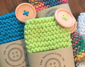 Set of 2 Pot Scrubber Cotton Dishcloths - Choose From 26 Colors - Hand Knit - Attached Wood Button Pan Scraper - The Buttoncloth tm