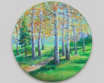 Landscape Original Acryllic painting Birch forest Impressionism Canvas art Round format decor Wall art
