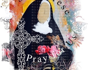 St. Therese Pray for Us - Catholic Teen Wall Art - Contemporary - Mixed Media Print - Confirmation Gift Ideas - French Saints
