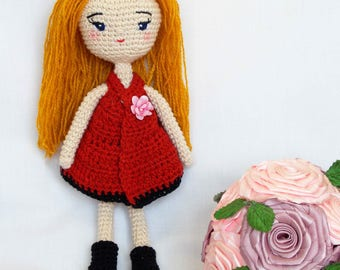 Girl amigurumi PATTERN with eye embroider