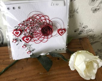 Handmade 3D red rose card