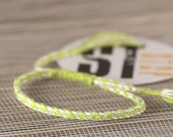 Green white woven friendship bracelet