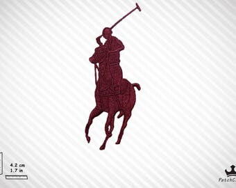 Burgundy Embroidered Horse Player Special Designer Fashion Iron On Patch/Emblem High Quality