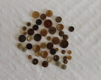 46 buttons beige taupe Brown former vintage - couture - ref 15