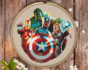 The Avengers Cross Stitch Pattern for instant download - 062| Easy Cross Stitch| Counted Cross Stitch| Modern Cross Stitch|Embroidery Design