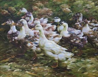 Swimming Ducks Original Oil Painting Still Life Home Decor Art Wall Art Green Warm