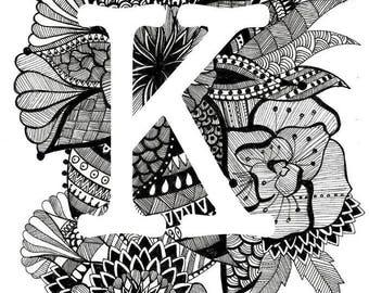 Personalised Letter Print- K-O- Downloadable, Printable Art