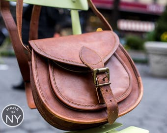 NEW USA MADE Women's Vintage Handmade Natural Pure Brown Leather Messenger/Purse Bag