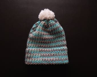 Handmade knit baby boy hat with a white pom pom, variety of sizes, made to order