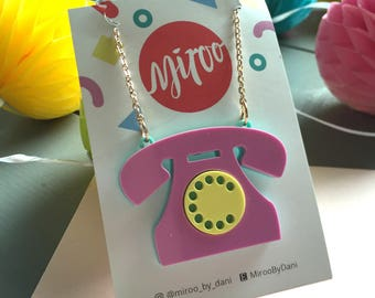 Retro phone necklace, acrylic laser cut necklace