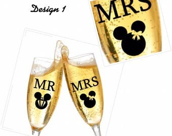 2x personalised Glass sticker DIY vinyl, decal bride and groom, disney wedding