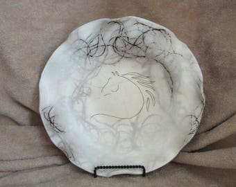 Horse Hair Ceramic Bowl Bisque Fired