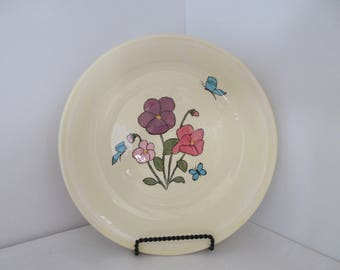 FREE SHIPPING Hand Thrown Pansies and Butterflies Plate