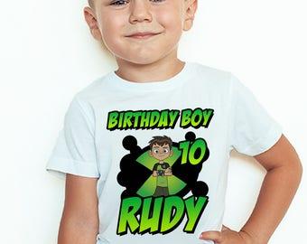 Personalized Ben 10 Birthday T-Shirt Custom Name and Age Ben 10 Birthday Boy TShirt
