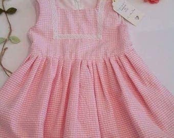 Beautiful pink and white gingham dress