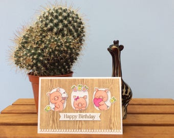 Three little pigs birthday card
