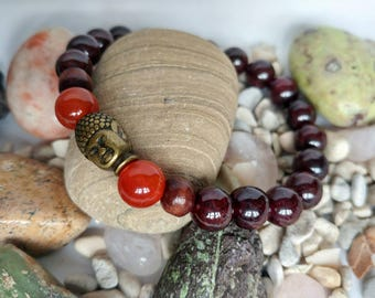 Authentic Gemstone Buddah Bracelet Garnet and Carnelian