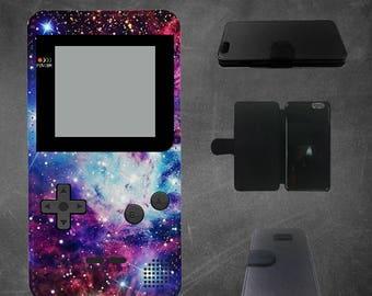 Galaxy gameboy iphone 7 wallet case, iphone 6 wallet case, iphone 5s wallet case, iphone 4/4s, 5c, SE, 6/6s, 6 plus, 7, 7 plus wallet case