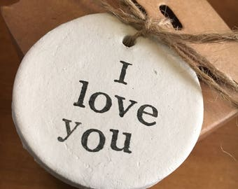 Rustic clay 'I love you' gift tag