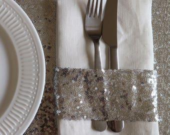 Sparkly Silver Sequin Napkin Holder
