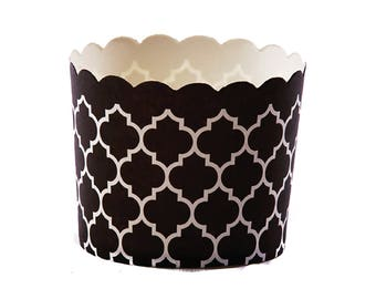 Quatrefoil Baking Cups - Black Metallic