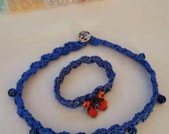 Crochet choker/bracelet duo.