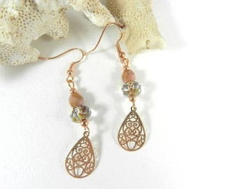 Earrings rose gold lilac pearls, designer jewelry, earrings, boho jewelry, dangle earrings